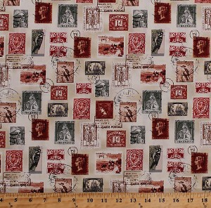 Cotton Vintage Postage Stamps Allover Birds Portraits Correspondence Snail Mail Longfellow Cotton Fabric Print by the Yard (41522-4)