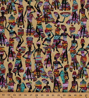 Cotton Kenta African Ladies Women Baskets Africa Costumes Multi-Color Cotton Fabric Print by the Yard (KENTA-C7420-SAND)