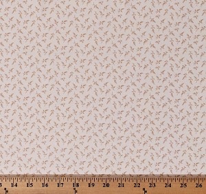 Cotton Something Blue by Edyta Sitar Flower Girl in Taffeta Tiny Tan Floral Leaves on Cream Cotton Fabric Print by the Yard (A-8832-L)