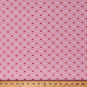 Cotton Love Hugs and Kisses XOXO Valentines Hearts Pink Cotton Fabric Print by the Yard (21190703)