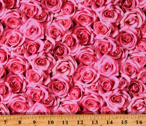 Cotton Roses Valentine's Day Flowers Floral Love Budding Romance Pink Cotton Fabric Print by the Yard (DP23845-27PINK)