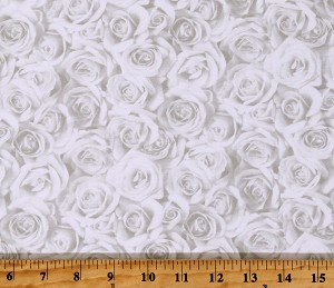 Cotton Roses Valentine's Day Flowers Floral Love Budding Romance White Cotton Fabric Print by the Yard (23846-10WHITE)