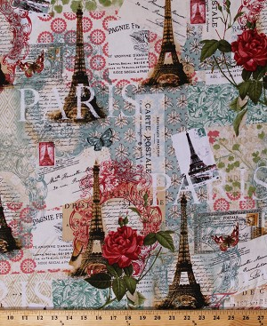 Cotton Paris Spring Postcards Eiffel Tower Roses Floral Travel Traveler Wanderlust France French Script Vintage Cotton Fabric Print by the Yard (CA-3006-4C-1CREAM/MULTI)