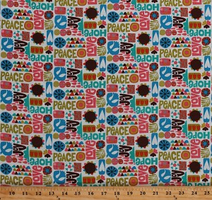 Cotton Words Peace Hope Joy Love Flowers Hearts Stars Font Writing Tulips Raindrops Christian Doves Olive Branch Nod to Mod Cotton Fabric Print by the Yard (3915R-3A)