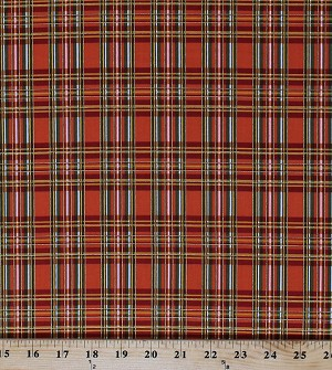 Cotton Plaid Check Stripes Autumn Fall Holiday Shimmer Sparkle Orange Cotton Fabric Print by the Yard (HOLIDAY-CM3286-ORANGE)