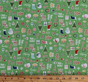 Cotton Cozy Christmas Decorations Stockings Christmas Trees Snowmen Ornaments Holiday Words on Green Cotton Fabric Print by the Yard (C5360-GREEN)