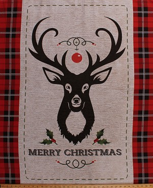 "35.5"" X 44"" Panel Holiday Antlered Buck Deer Head Northwoods Lodge Cabin Merry Christmas Festive Plaid Cotton Fabric Panel (69522-A620715)"