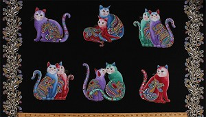 "23.5"" X 44"" Panel Cats Cat Couples Sweethearts Paisleys Swirls Multi-Color Animals with Gold Metallic Shimmer on Black Whimsical Fancy Cat-i-tude Purrfect Together Cotton Fabric Panel (7551M-12)"