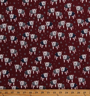 Cotton Bulldogs Dogs Animals Pets Stars on Burgundy Patriotic Hey Mister Cotton Fabric Print by the Yard (C7550-BURGUNDY)