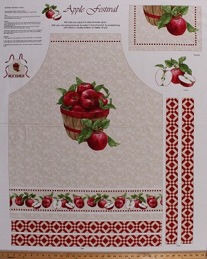 "35.5"" X 44"" Apron Panel Kitchen Baking Cooking Apron Fruit Fall Autumn Farm Apple Harvest Cotton Fabric Panel (1518P-48)"