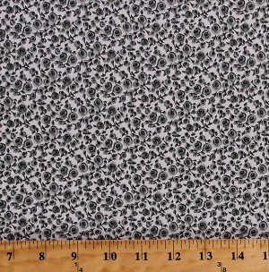 Cotton Tiny Roses Rose Flowers Floral Gray on White Cotton Fabric Print by the Yard (FP6862-592-GRAY)