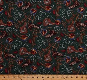 Cotton Horse Riding Gear Equipment Saddles Riding Boots Jockeys Equestrian Green Cotton Fabric Print by the Yard (ED-1715)