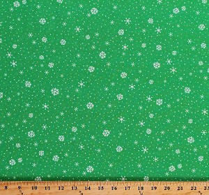 Cotton Snowflakes Snow on Green Winter Christmas Festive Patrick Lose Snow Happy Flurries Cotton Fabric Print by the Yard (66710-6470715)