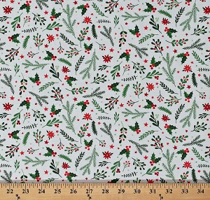 Cotton Holiday Greenery Holly Leaves Berries Poinsettias Stars Christmas Floral on White Patrick Lose Winter Wonderland Cotton Fabric Print by the Yard (68438-G550715)