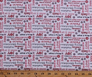 Cotton Holiday Phrases Festive Sayings Merry Christmas Snowflakes Red Words on White Sweet Wishes Let It Snow Cotton Fabric Print by the Yard (04587-99)