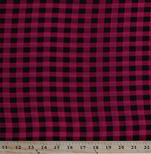 "60"" Raspberry Pink Black Plaid Soft Flowy Sheer Polyester Fabric Print by the Yard (2742V-6N)"