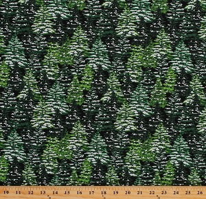Cotton Christmas Trees Snow-Covered Evergreens Pine Trees Landscape Winter Holiday Green Christmas Village Cotton Fabric Print by the Yard (4253-99)