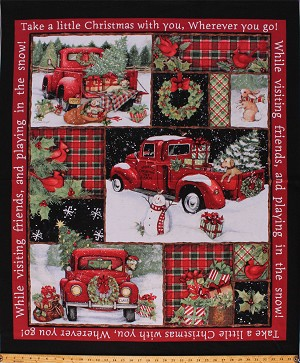 "36"" X 44"" Panel Red Trucks Christmas Gifts Presents Trees Bunnies Winter Holiday Collage Red Cotton Fabric Panel (66689-A620715)"
