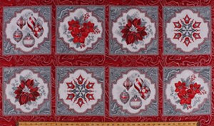 "23"" X 44"" Panel Poinsettias Christmas Ornaments Red Silver Marbled Look Flowers Floral Metallic Shimmer Holiday Flourish 11 Cotton Fabric Panel (APTM-17334-186-SILVER)"