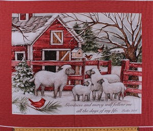 "36"" X 44"" Panel Sheep Lambs Winter Barn Country Scene Psalm 23 Lord is my Shepherd Cardinals Snow Holiday Cotton Fabric Panel (69600-A620715)"