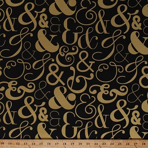 Cotton Ampersands And Symbols Characters Letters Fonts Typography Gold Metallic on Black Bold and Gold Cotton Fabric Print by the Yard (40742M)