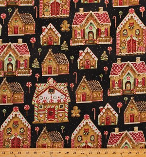 Cotton Gingerbread Houses Gingerbread Men Christmas Candy  Cotton Fabric Print by the Yard (D57718-46)