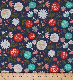 Cotton Flowers Roses Daises Spring Floral on Navy Blue Heart & Soul Cotton Fabric Print by the Yard (C6700-NAVY)