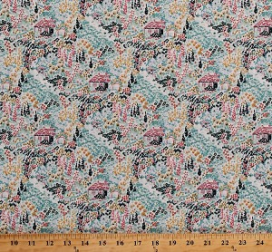 Cotton Cottages Houses Homes Flowers Floral Woods Woodland Cotton Fabric Print by the Yard (STELLA-429-MULTI)