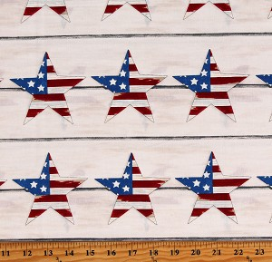 Cotton America Stars and Stripes Patriotic America the Beautiful Cream Cotton Fabric Print by the Yard (19981-12)