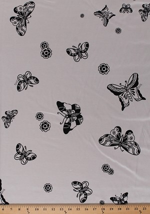 44 Silk Kimono Butterfly Sailor Jerry Tattoo Black Butterflies Flowers On Ivory Fabric By The Yard