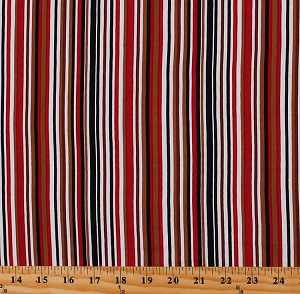 "54"" Multi-Color Stripe Red Brown Narrow Horizontal Stripes Lightweight 4-Way Stretch Rayon Jersey Knit Fabric by the Yard (D441.15)"