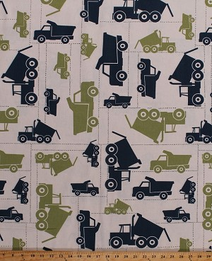 "56"" Lightweight Duck Canvas Dump Trucks Construction Vehicles Work Zone Blue & Green on Natural Canvas Fabric By the Yard (D452.07)"