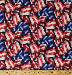 "Home Decor Tossed American Flags Stars and Stripes United States of America USA Patriotic Independence Day 45"" Wide Cotton/Blend Fabric by the Yard (D452.30)"