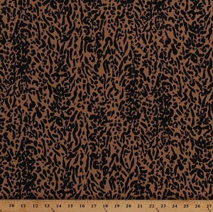 "Genuine Ultrasuede® LT (Light) Jungle Print 45"" Jaguar Brown / Black Animal Print Fabric by the Yard (176-231)"