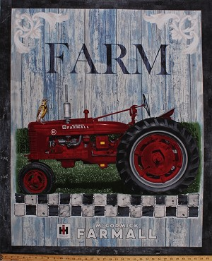 "35"" X 44"" Panel Tractor McCormick Farmall Red International Harvester Farm Farming Country Farmall Hometown Life Cotton Fabric Panel (10210)"