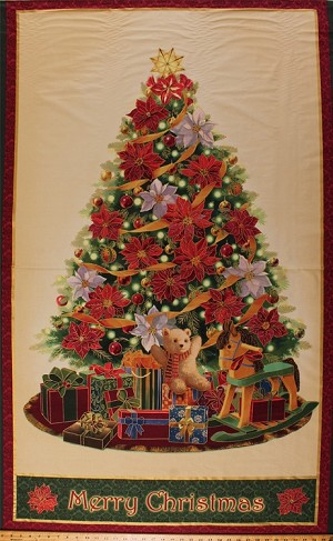 "35.5"" X 58"" Panel Christmas Tree Pine Trees Ornaments Pointsettias Presents Gifts Teddy Bears Rocking Horses Holiday Festive Words Christmas Day Metallic Glitter Shimmer Flowers Floral Cotton Fabric Panel (1650-76837-E)"