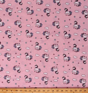 Cotton Unicorns Magical Stars Clouds Pink Cotton Fabric Print by the Yard (8695D-9D)