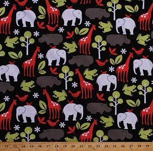 "60"" Cotton Safari Animals Elephants Giraffes Hippos Hippopotamus Frogs Birds Flowers Trees Kids Michael Miller Zoology Red Green Gray White on Black Cotton Fabric Print By the Yard (WC-4061-black)"