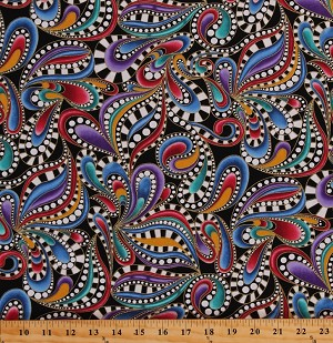 Cotton Multi-Color Paisleys Paisley Swirls Allover on Black Gold Metallic Shimmer Whimsical Fancy Cat-i-tude 2 PurrFect Together Cotton Fabric Print by the Yard (7553M-99)