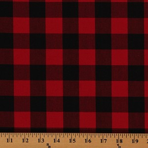 Cotton Carolina Gingham Buffalo Check Scarlet Red Black Cotton Fabric Print by the Yard (P-9811-93)