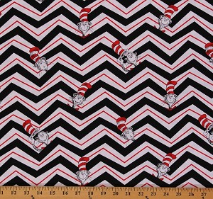 Cotton Cat in the Hat Chevron Robert Kaufman Cotton Fabric Print by the Yard ADE-13979-2