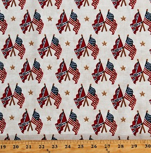 Cotton Gettysburg Battle Flags Confederate Flags American Civil War U.S. History Stars Patriotic Cream Cotton Fabric Print by the Yard (1649-22759-E)