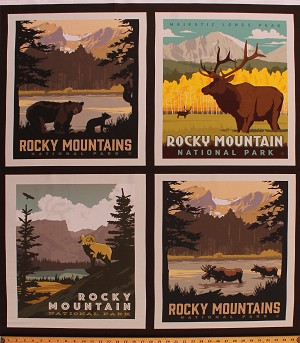 "36"" X 44"" Panel Rocky Mountain National Parks 2 Posters Scenic Landscape Wildlife Nature Pillow Cotton Fabric Panel ( PP8935-ROCKY)"