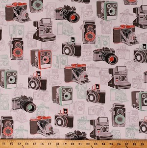 Cotton Cameras Digital Camera Photography Photographer Vintage Retro Say Cheese Cotton Fabric Print by the Yard (1649-26333-Z)