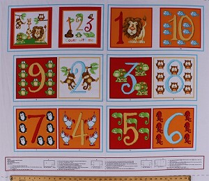 "35"" X 44"" Panel Counting Numbers 123 Soft Book Animals Preschool Kids Children's Little Readers Count With Me Cotton Fabric Panel (6479P-83)"