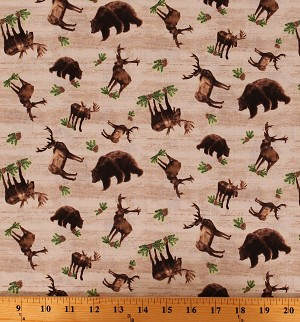 Cotton Moose Bears Animals Northwoods Up North Woodland Creatures Nature Send Me to the Woods Cotton Fabric Print by the Yard (C9271-TAN)