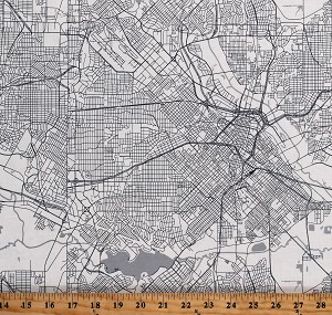 Cotton Destination City Maps Urban Cartography Black and White Cotton Fabric Print by the Yard (C10030 CREAM)