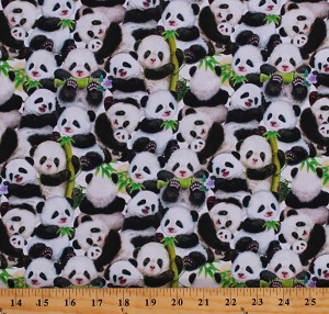 Cotton Baby Pandas Sanctuary Animals Bamboo Leaves Flowers Cotton Fabric Print by the Yard (5269-1)