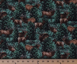Cotton Elk Allover on Green Trees Evergreens Nature Wildlife Animals Northwoods Cotton Fabric Print by the Yard (67517-6470715)