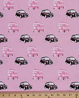 Cotton London Taxis London Invasion Buses Bus Trolleybus Pink Black White Cotton Fabric Print by the Yard (C3841)